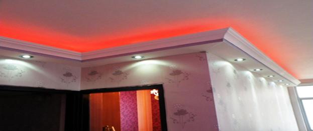 اجرای سقف فلت به همراه سیستم هالوژن نور مخفی